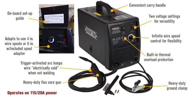 Ironton 125 Flux Cored Welder Transformer 115 Volts 60 125 Amp Output Flux Welders Wire Spool