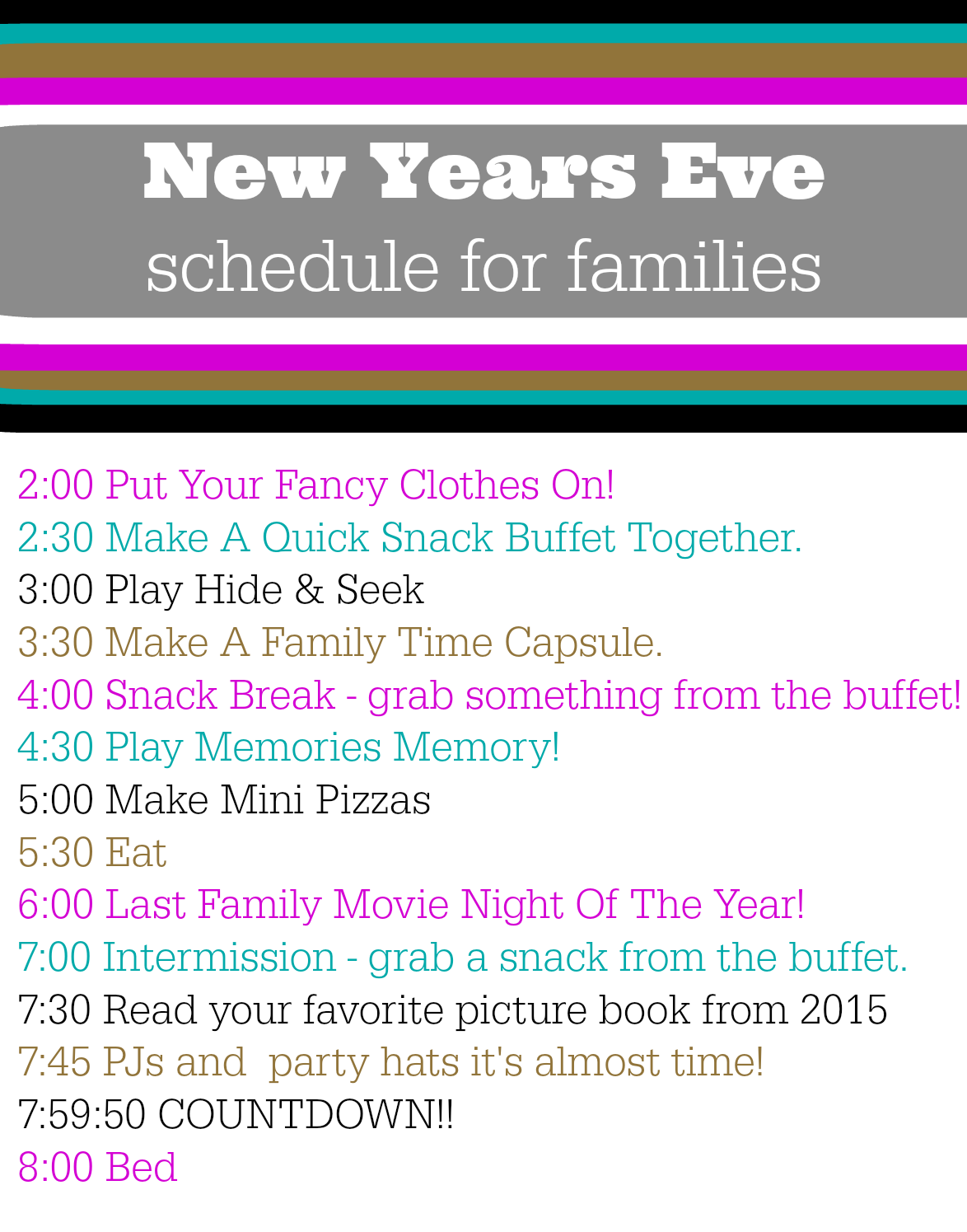 New Years Eve Schedule Free Printable New year's eve