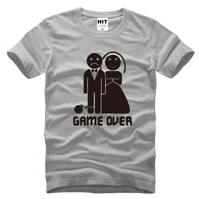 b7ac7096 Game Over Marriage Ball And Chain Funny Tshirts Short Sleeve Cotton Men O  Neck T Shirts Novelty Bride Groom Gift Top Tees Male