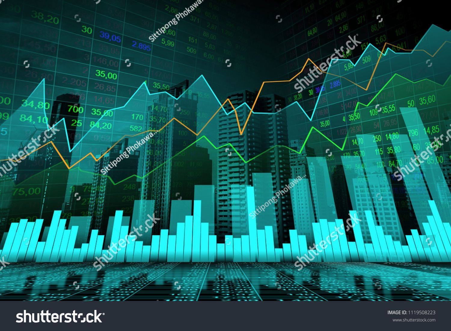 Stock Market Or Forex Trading Graph In Graphic Double Exposure Concept Suitable For Financial Investment Or Econom Stock Market Economic Trends Double Exposure