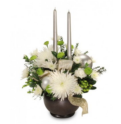 White Fuji Mums Mini Carnations Green Hypericum Blanket Shimmering Silver Ornaments Silver Tapers Winter Flower Arrangements Flowers To Go Winter Flowers