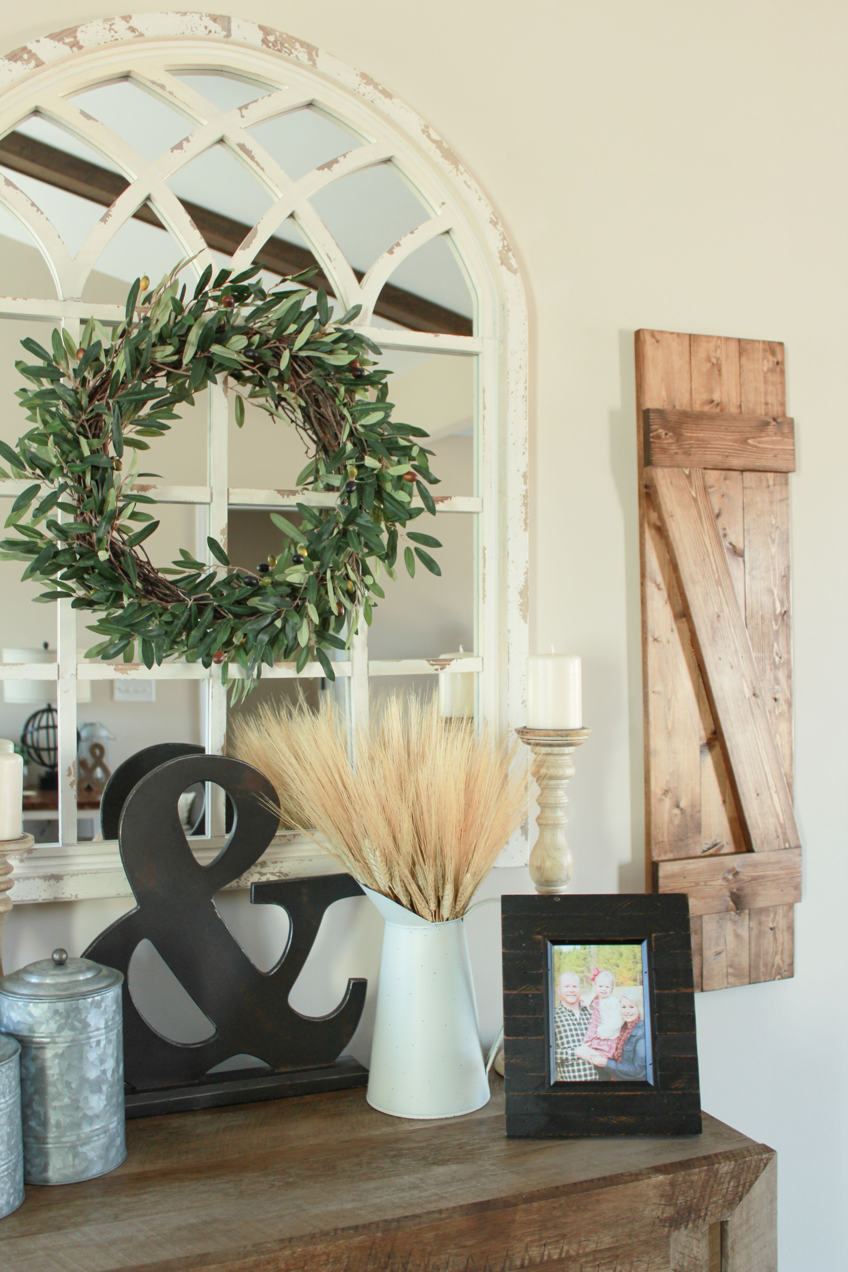 Farmhouse Shutters Wheat Galvanized Canister Cathedral Mirror