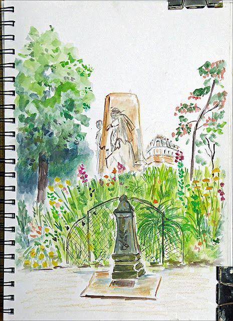 art de vivre la peinture de peintrefiguratif : Croquis à l'Aquarelle au Le square Claude Nicolas ...