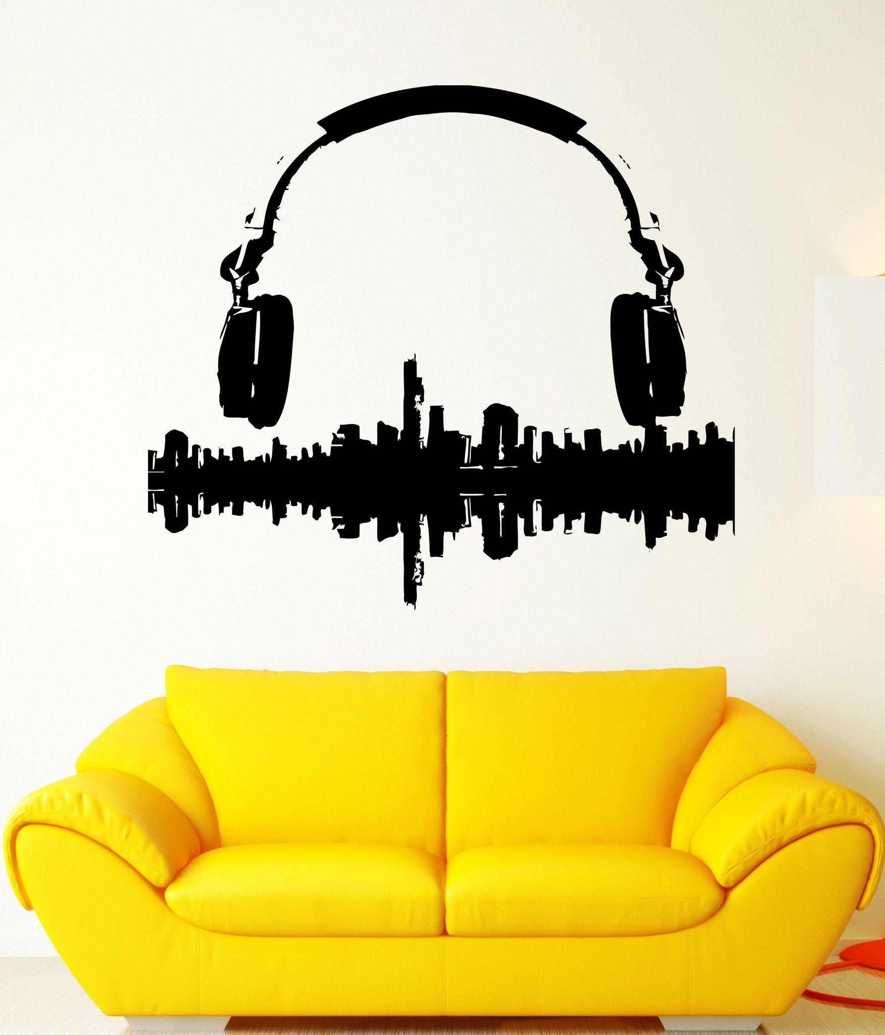 Wall Sticker Vinyl Decal Music Melody Headphones Sound City Panorama ...
