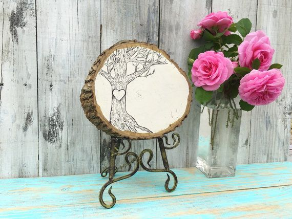 Wood Slice Decor Heart Tree Personalized by EcoArtWoodDesign