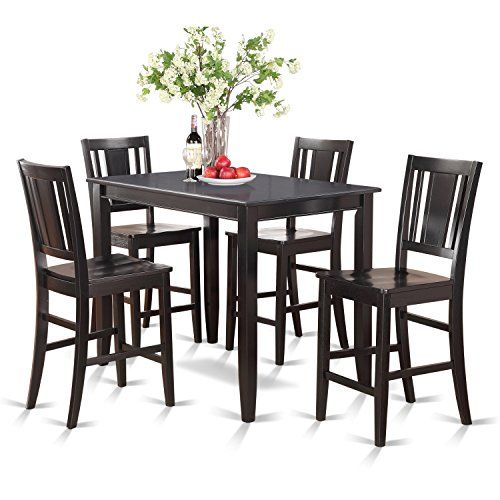 Home Decorators Collection East West Furniture Buck5blkw 5piece Counter Height Table Counter Height Table Sets East West Furniture Counter Height Dining Sets