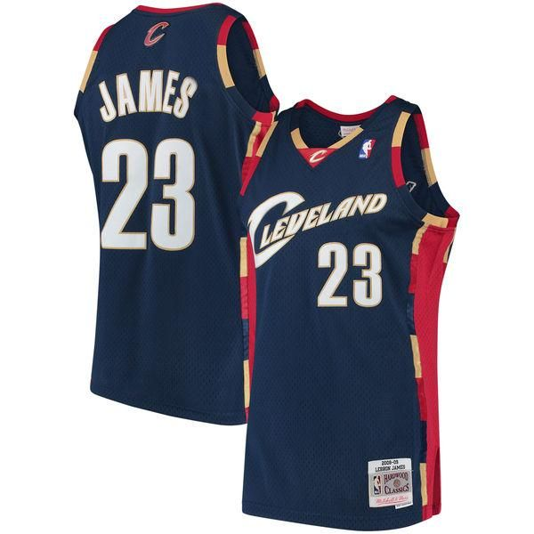 best sneakers 764a4 f725b Men's Cleveland Cavaliers LeBron James Mitchell & Ness Navy ...