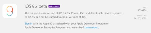 Apple rilascia la prima beta di iOS 9.2