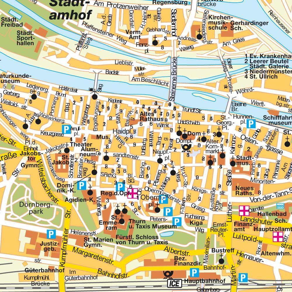 Regensburg Dominicans Map Regensburg Bavaria Bayern Germany - Germany maps