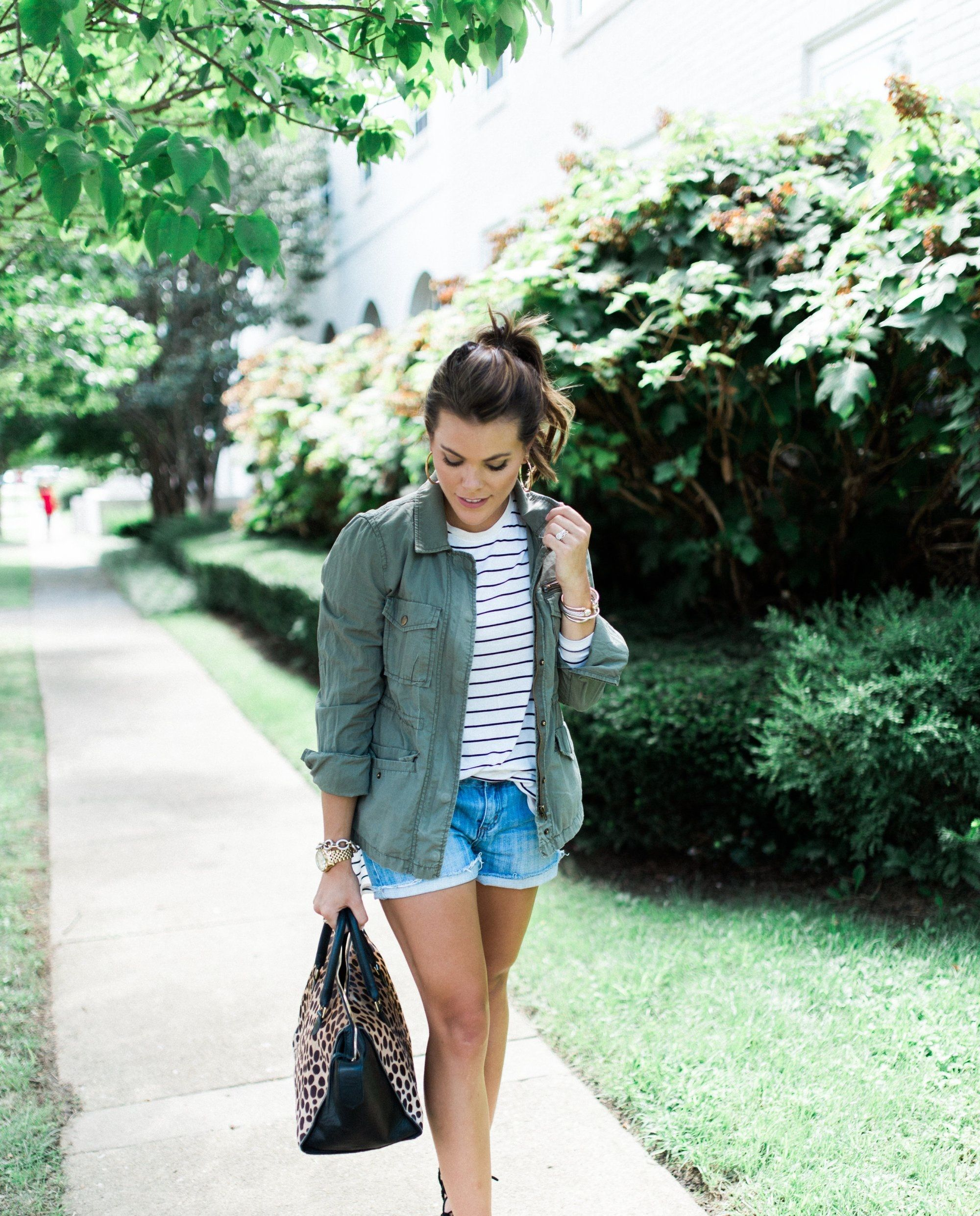 Glitter & Gingham. White striped long sleeve+denim shorts+black lace up ballerinas+green utility jacket+black and leopard printed handbag. Fall Casual Outfit 2016