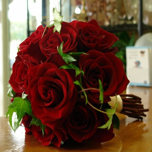 Red and Green Bridal Hand-Tied Bouquet