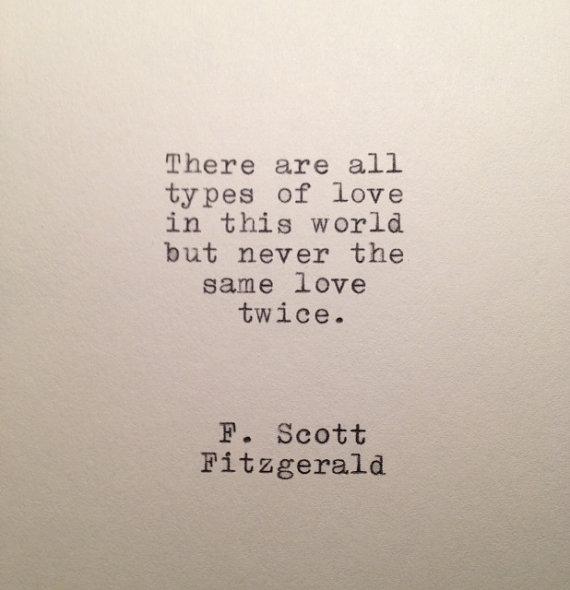 F Scott Fitzgerald Love Quote Made On Typewriter Scott Fitzgerald