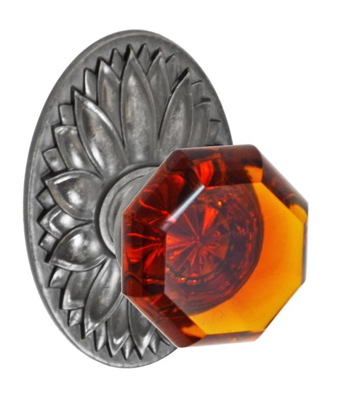 Fusion D-17-D9-E Victorian Amber Style Single Dummy Door Knob with Oval Floral R Antique Pewter Knobset Single Dummy