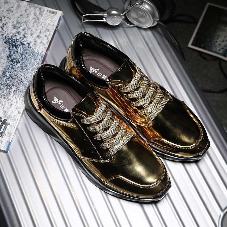 Luxury Brand Mens Hip Hop Dance Jogging Shoes Shinning Patent Leather Shoes Street Style Punk Gothic Swag Shoes Golden Silver