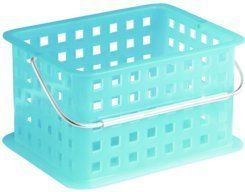 """3PK INTR 61268 Spa Basket Azure Small 9.75x7x5 by InterDesign. $45.03. 3PK INTR 61268 Spa Basket Azure Small 9.75x7x5""""For organizing health & beauty supplies, CDs and odds and ends. Small holes for drainage. Made of translucent plastic with chrome handle. Size: 9.75x7x5. Color: Azure."""""""
