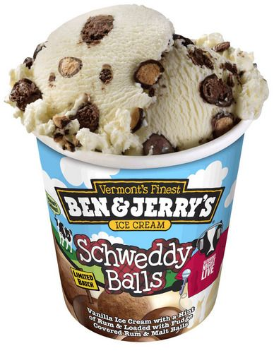 Ben & Jerry's Schweddy Balls Ice Cream: Based on the classic Saturday Night LIve skit, this flavor is Fair Trade vanilla ice cream with a hint of rum and is loaded with fudge covered rum and milk chocolate malt balls. via NPR #Ice_Cream #Ben_&_Jerrys #Schweddy_Balls_Ice_Cream