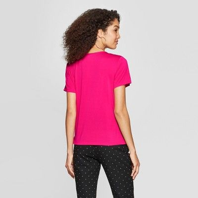 3ad51789135cc Women s Short Sleeve V-Neck Knit Wrap Top - A New Day Pink Xxl in ...