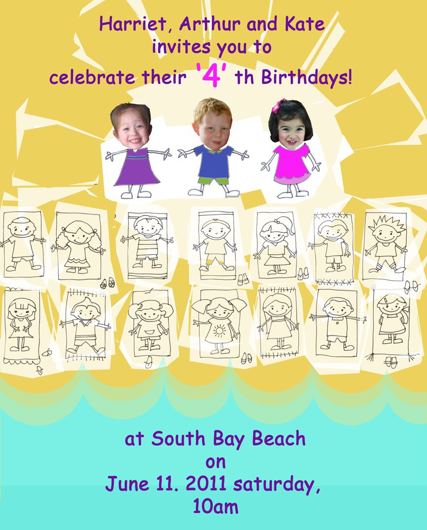 kids beach party invites
