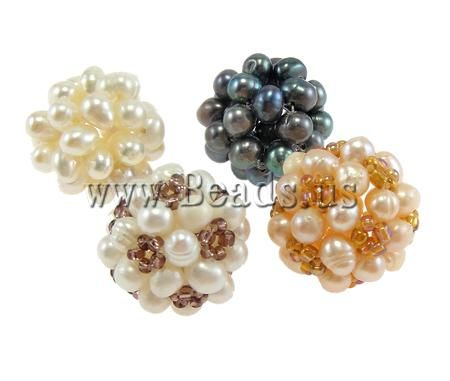 Ball Cluster Cultured Pearl Beads, Freshwater Pearl, Round