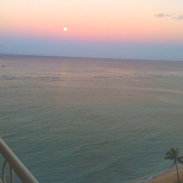 Moon in the morning, in Oahu.