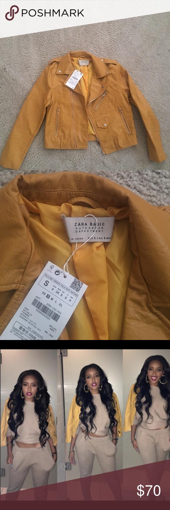 Zara Yellow Faux Jacket NWT Zara leather jacket, Faux