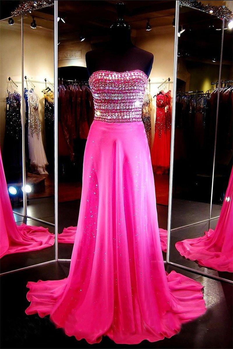 Sheath Strapless Long Hot Pink Chiffon Rhinestone Beaded Prom Dress ...