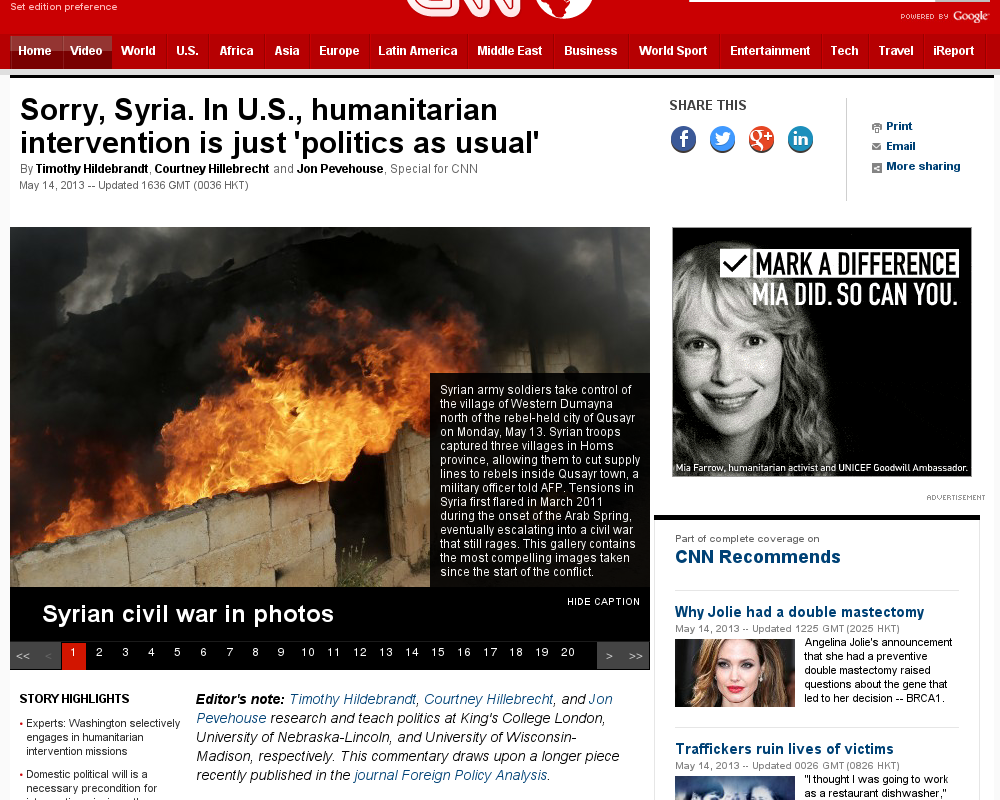 http://edition.cnn.com/2013/05/14/opinion/opinion-syria-intervention-u-s-politics/index.html?hpt=hp_c1 U.S.: Why Bosnia, Libya and not Syria? | #Indiegogo #fundraising http://igg.me/at/tn5/