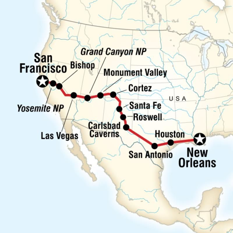 New Orleans To San Francisco Road Trip San Francisco Road Trip Road Trip Routes Road Trip Map