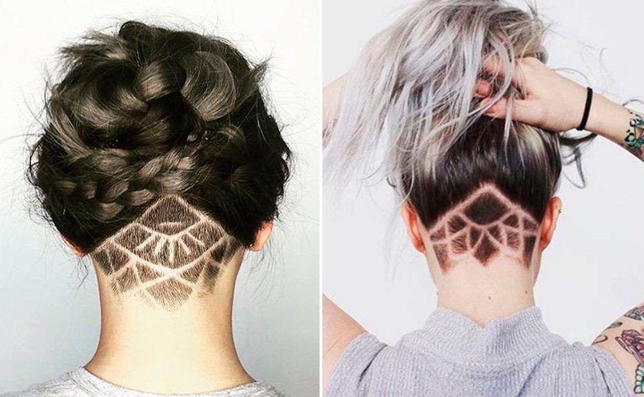 Undercut Im Nacken Frauen Muster Blume Hair