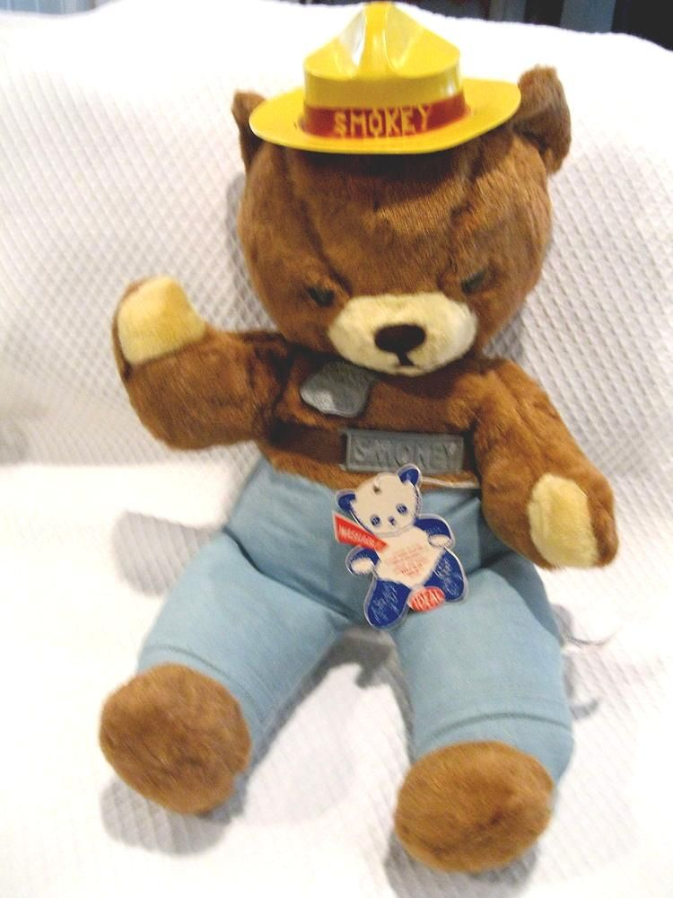 Vintage Smokey The Bear Stuffed Toy Ideal 60 S Unused Toy Hang Tag Yellow Hat Ex Smokey The Bears Vintage Toys Vintage Children
