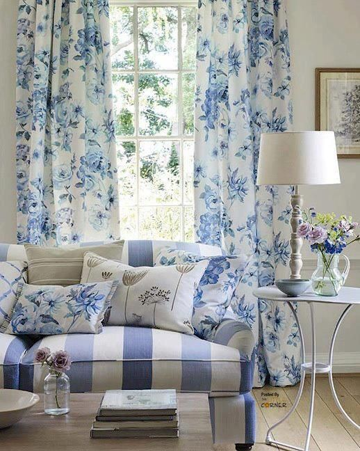 Vintage Blue Rose Curtains Just Like Blanche Had In The Old