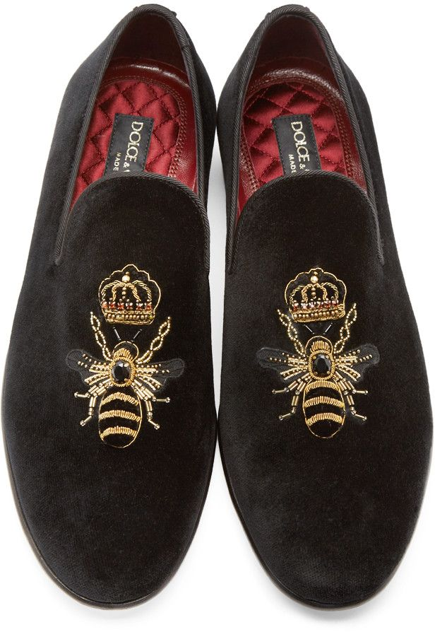hot sale online fd8ba 9ab91 Dolce  Gabbana Black Velvet Bee  Crown Slippers Mens Slippers, Loafer  Slippers, Loafer