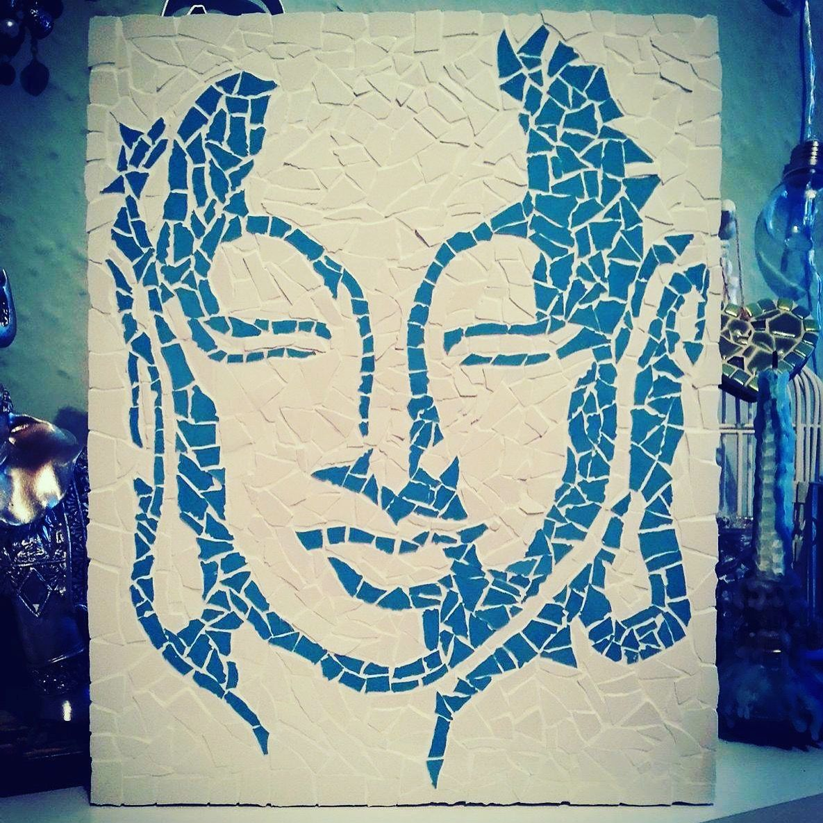 Mosaic buddha created using teal cream ceramic tiles mosaic mosaic buddha created using teal cream ceramic tiles dailygadgetfo Gallery