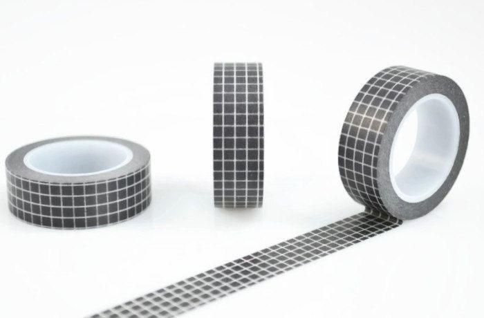Black Check Washi Tape 10 Metres Grid