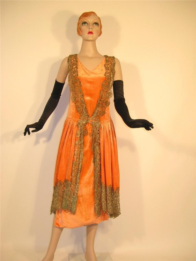 APRICOT SILK PANNE VELVET 1920S METALLIC LACE FLAPPER DRESS | 1920s ...
