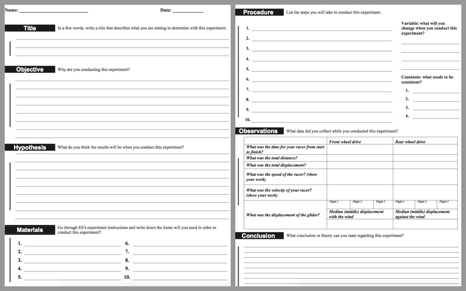 Lab Report Template Middle School  Google Search For Students