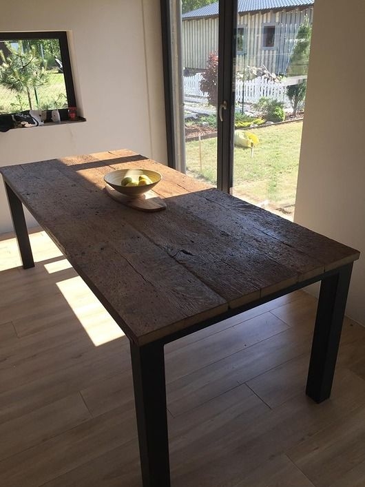 Stół Stare Drewno Dębowe I Stal Ligonia Dodatki