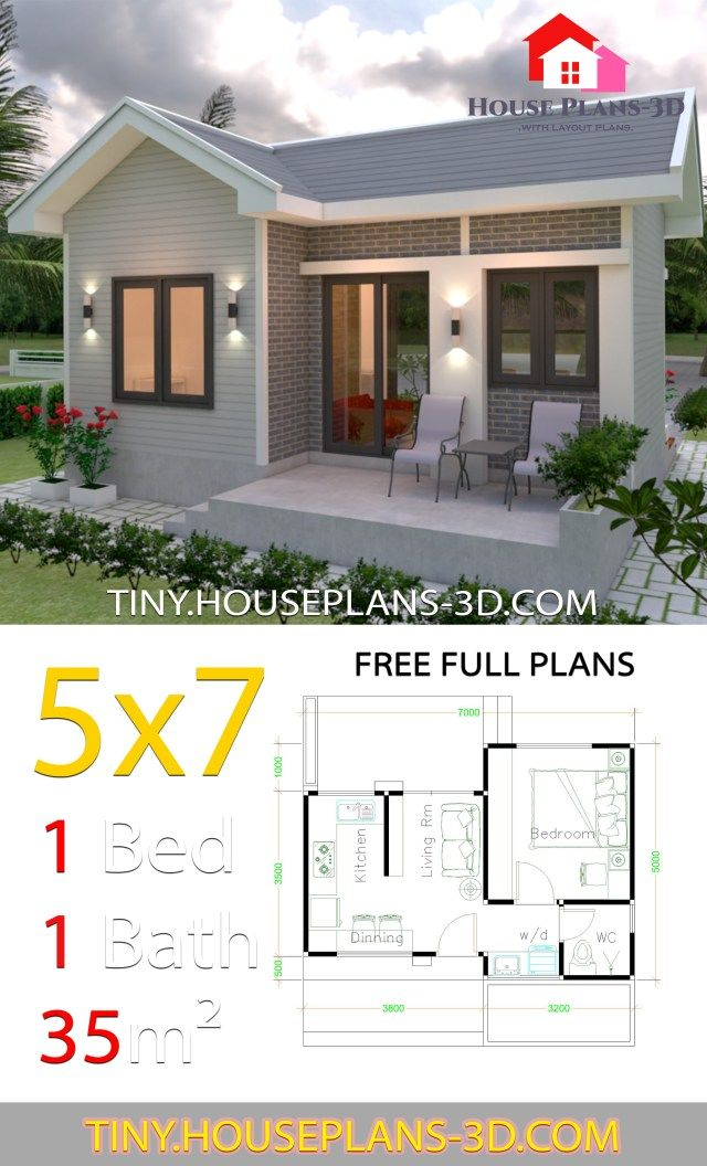 Small House Design Plans 5x7 With One Bedroom Gable Roof Tiny House Plans Small House Design Plans One Bedroom House Plans One Bedroom House
