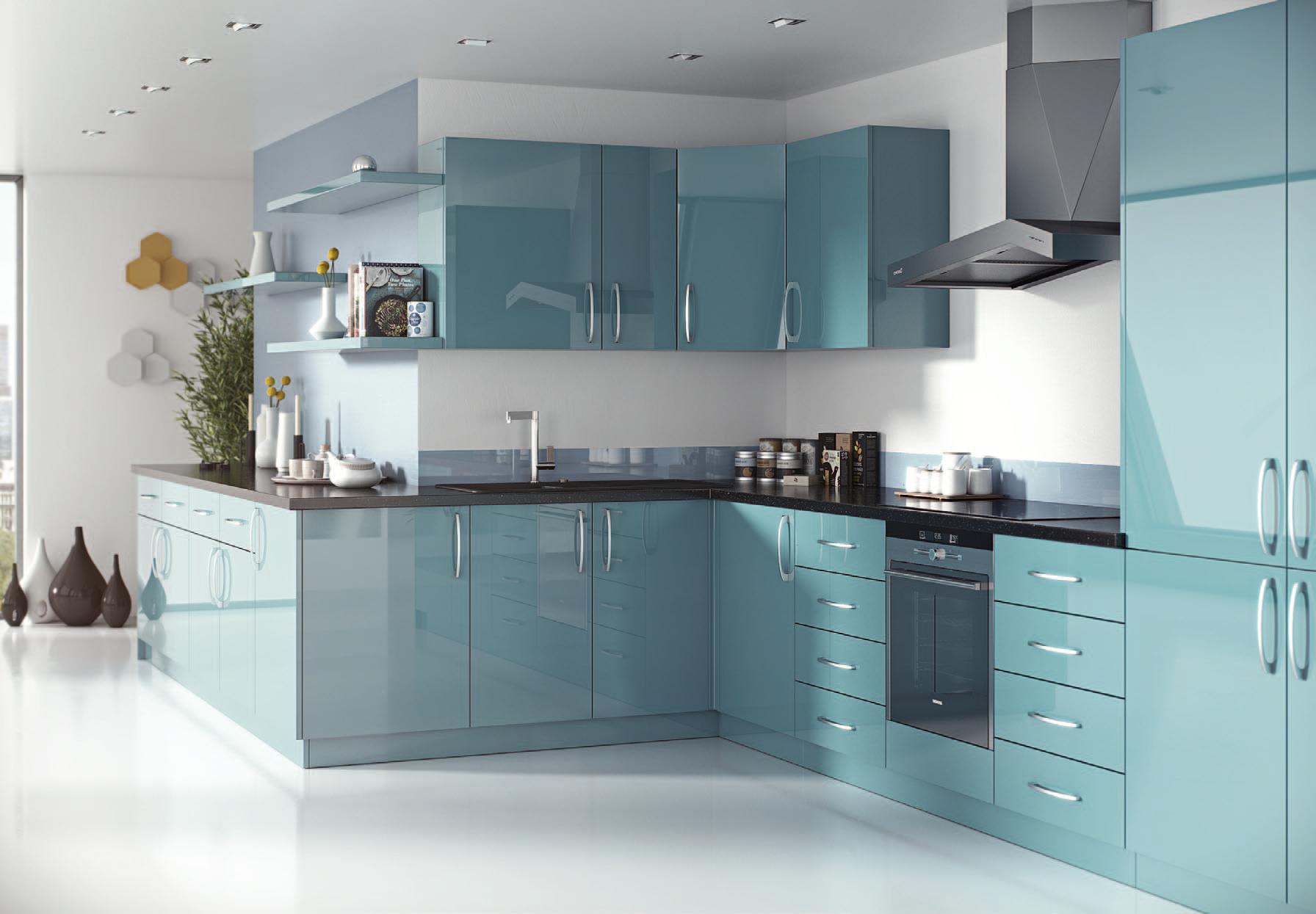 Mirror Gloss Marmara Blue Blue Kitchen Designs Kitchen Design Color Kitchen Room Design