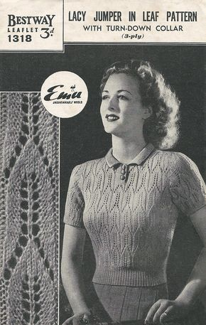7f19bc8e52f1ed Free 1940s Knitting pattern for a lacy jumper in lead pattern - Renée And  The Cat s Meow