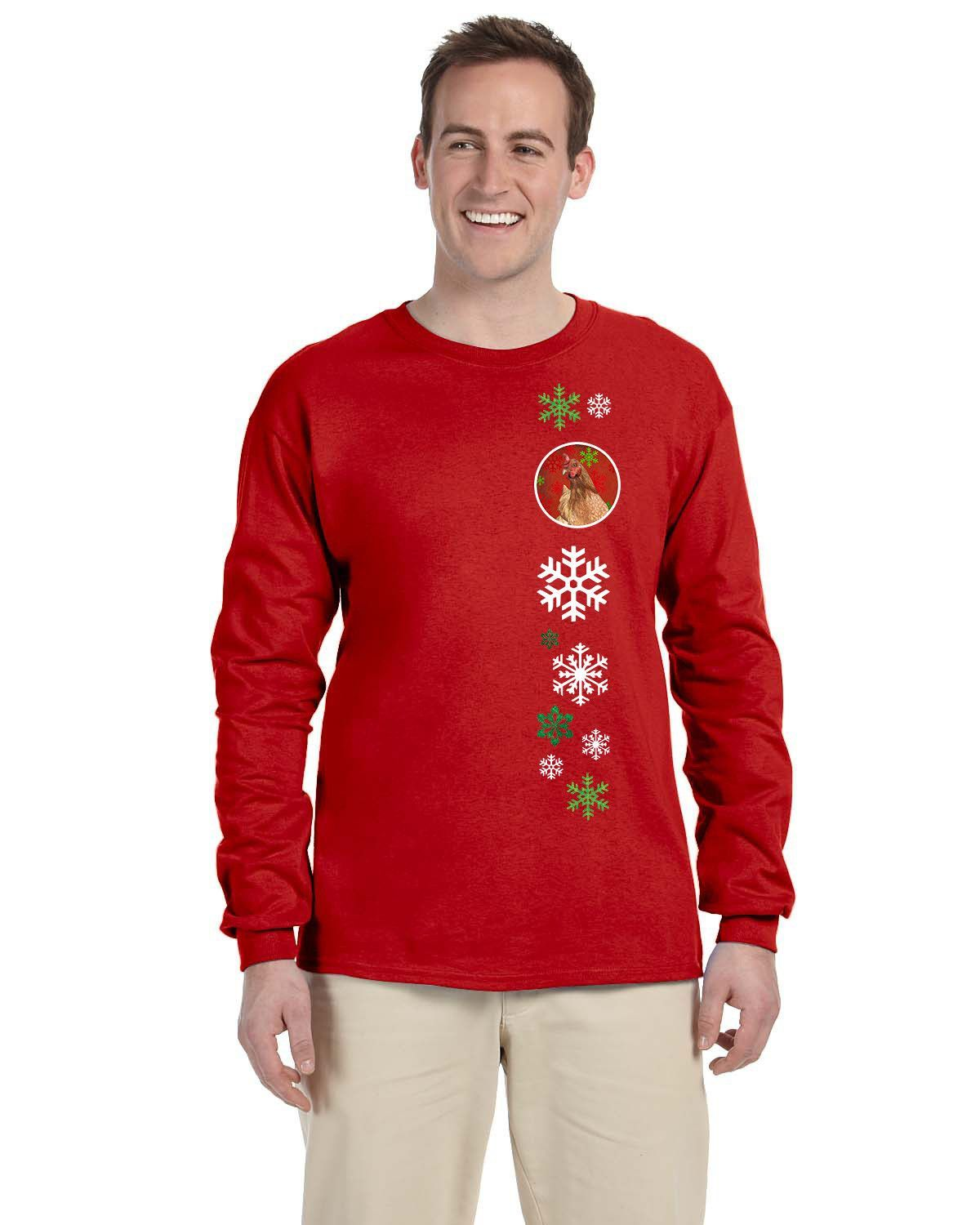 Chicken Red Snowflakes Long Sleeve Red Unisex Tshirt Adult Large SB3129-LS-RED-L