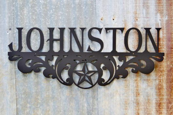 metal family name sign texas star scroll products pinterest