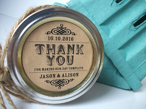 Thank You KRAFT Paper Canning Jar Labels Customized Round Stickers For Mason Jars Wedding And Bridal Shower Favors CanningCrafts
