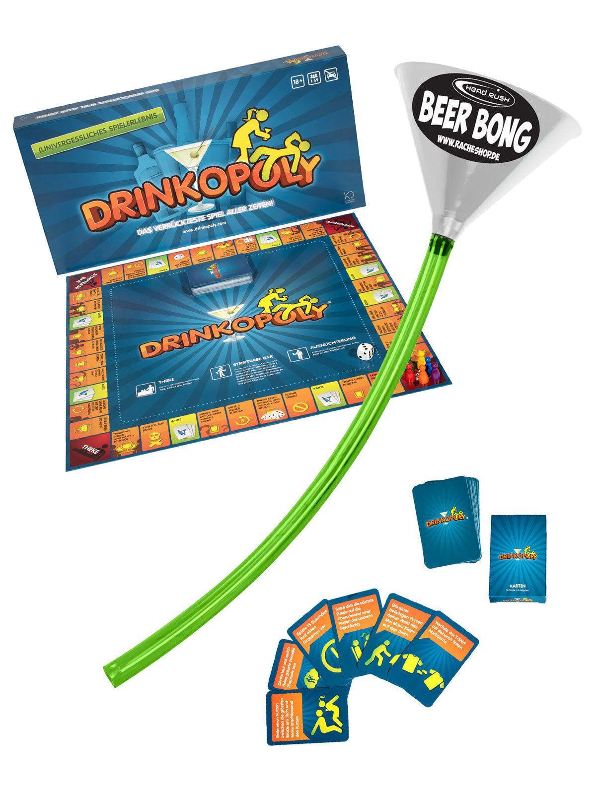 Drinkopoly Party Spiel Set Mit Ultimate Beer Bong  Teilig Bunt Aus Der