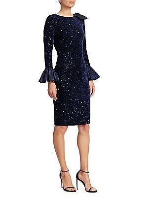 0bf08c6526a1 Teri Jon by Rickie Freeman - Taffeta Bell-Sleeve Velvet Sequin Bodycon Dress