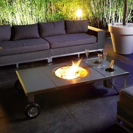 ambiance conviviale et chaleureuse autour de la table brasero en inox et trespa j 39 adore. Black Bedroom Furniture Sets. Home Design Ideas