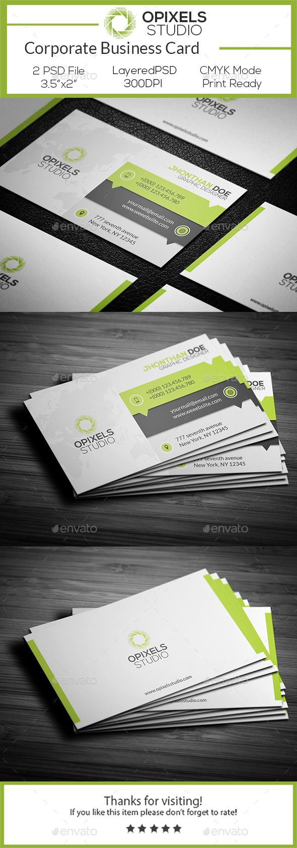 Corporate Business Card Photoshop Psd Personal Clean Available