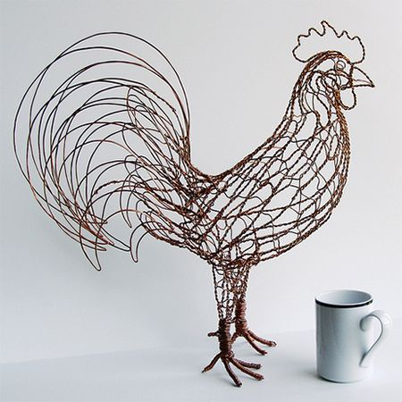 Rex The Rooster Wire Sculpture By Ruth Jensen