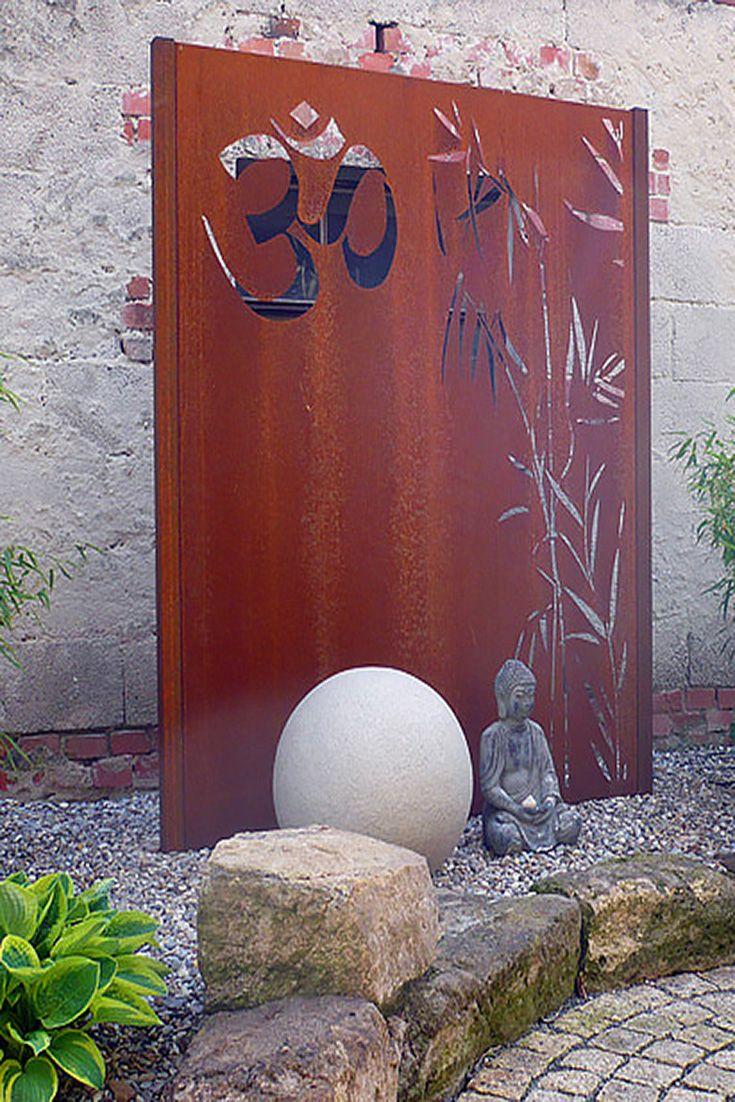 Sichtschutzwand Corten für den Garten, Motiv Schilf & Ohm