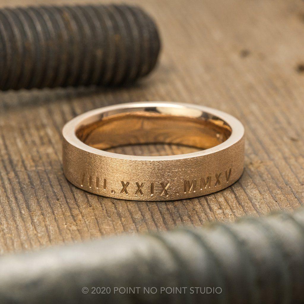 Roman Numeral, 6mm 14K Rose Gold Comfort Fit Men's Wedding